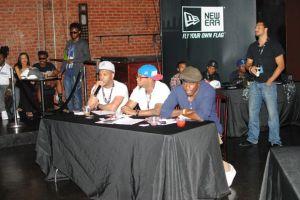 Kane Beatz , Jon Jon Traxx, Chuck Harmony providing feedback at IMC Producer Showcase