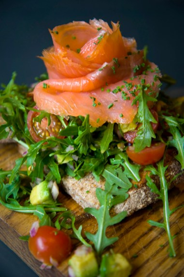 Smoked Salmon on Sour Dough with Avocado, Tomato, Red Onion and Herbs, Foxcroft & Ginger