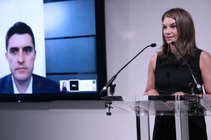 Natalie Massenet MBE and Peter Fitzgerald open London Fashion Week SS15 via a Google Hangout (Darren Gerrish, British Fashion Council)