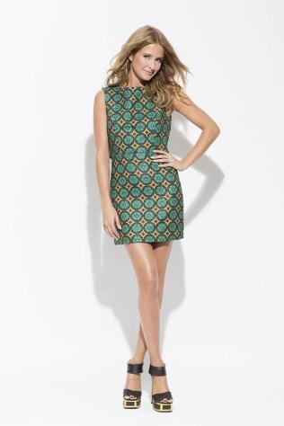 Patterned shift dress green