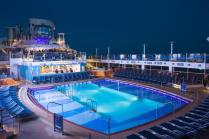 Pool deck at dusk