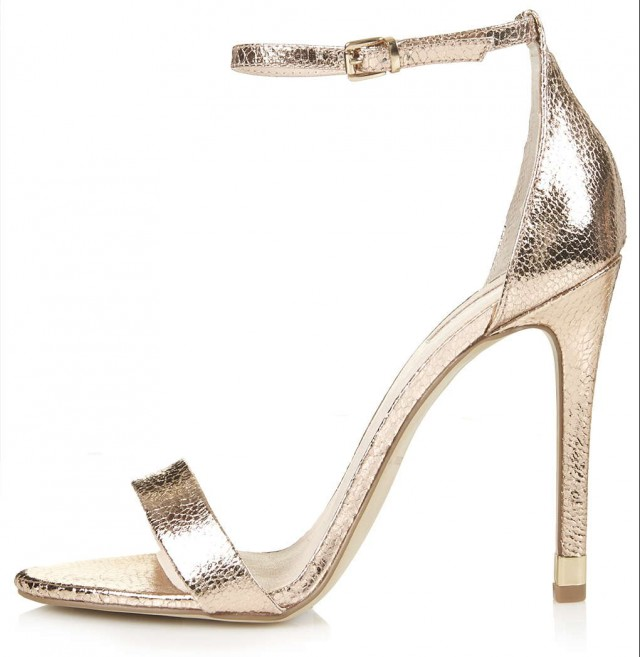 RUBY Metallic High Sandals in rose gold