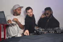 LONDON, ENGLAND - OCTOBER 15: DJ Charlesy, Mike Skinner, and Tinie Tempah at smart Disturbs London, a collaboration event by smart & Disturbing London, in Shoreditch last night at Shoreditch Studios on October 15, 2015 in London, England. (Photo by David M. Benett/Dave Benett/Getty Images for smart and Disturbing London) *** Local Caption *** Mike Skinner; DJ Charlesy; Tinie Tempah
