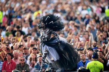 LONDON, ENGLAND - JUNE 21: (SUN NEWSPAPER OUT. MANDATORY CREDIT PHOTO BY DAVE J. HOGAN GETTY IMAGES REQUIRED) Grace Jones performs at the British Summer Time 2015 at Hyde Park on June 21, 2015 in London, England. (Photo by Dave J Hogan/Getty Images) *** Local Caption *** Grace Jones