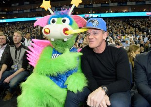 LONDON, ENGLAND - JANUARY 14: Stuff The Magic Dragon and Gordon Ramsay attend Orlando Magic vs Toronto Raptors NBA Global Game at The O2 Arena on January 14, 2016 in London, England. (Photo by David M. Benett/Dave Benett/Getty Images for NBA