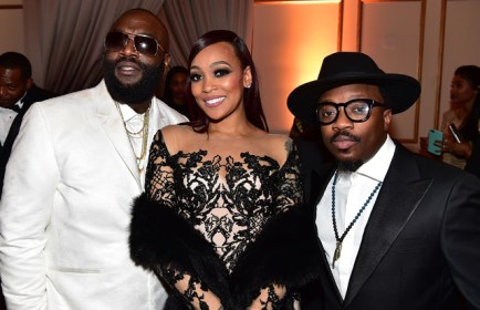 FAYETTEVILLE, GA - JANUARY 28: Rick Ross, Monica Brown, and Anthony Hamilton attend Rick Ross' 40th Birthday Celebration on January 28, 2016 in Fayetteville, Georgia. (Photo by Paras Griffin/Getty Images for The Vanity Group)
