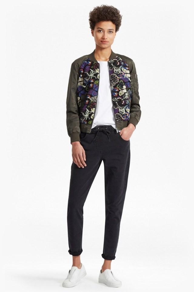 rivera floral embroidered bomber jacket