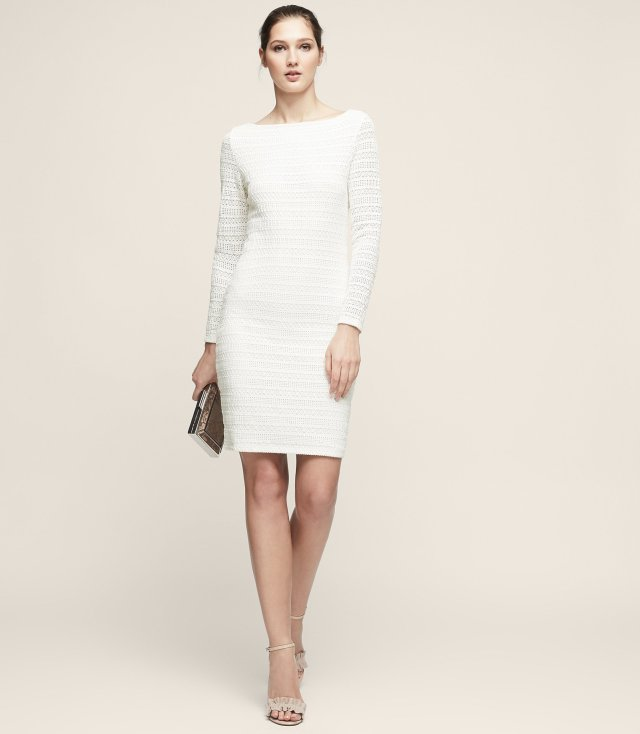 Denise lace bodycon dress off white