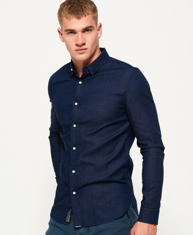 Tailored Long Sleeve Indigo Slim Shirt