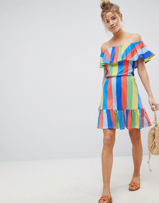 ASOS Off Shoulder Sundress With Tiered Skirt In Rainbow Stripe