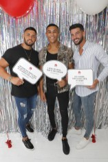(L-R) Kieran Nicholls, Jordan Adefeyisan, and Dean Overson attend Huawei's 'A Phone' Break-Up Party & on July 18, 2018 in London, England. (Photo by David M. Benett/Dave Benett/Getty Images for Huawei)