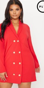 Plus Red Gold Button Oversized Blazer Dress