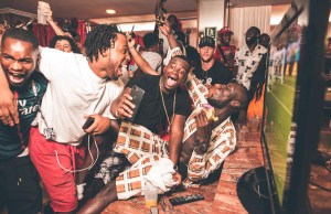 Stormzy celebrates England win during headline set at #MERKY Festival in Ibiza