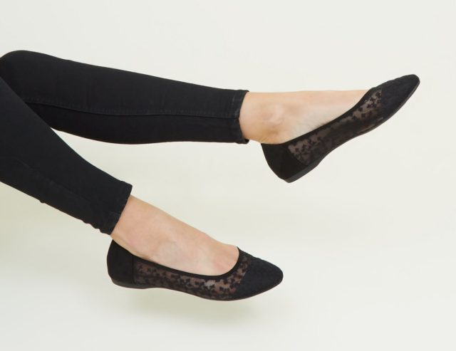 Wide Fit Black Floral Mesh Ballet Pumps £12.99