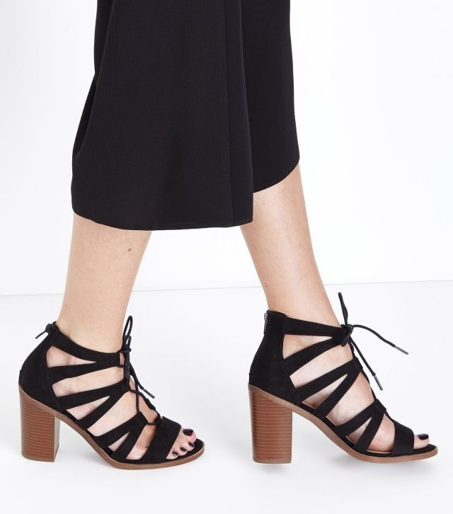 Wide Fit Black Suedette Wood Heel Ghillie Sandals £29.99