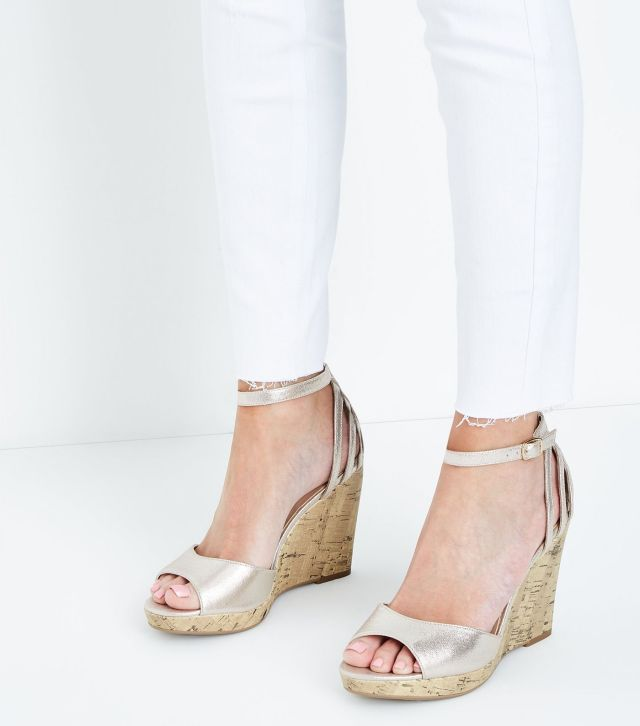 Wide Fit Gold Cage Back Cork Wedges £22.99
