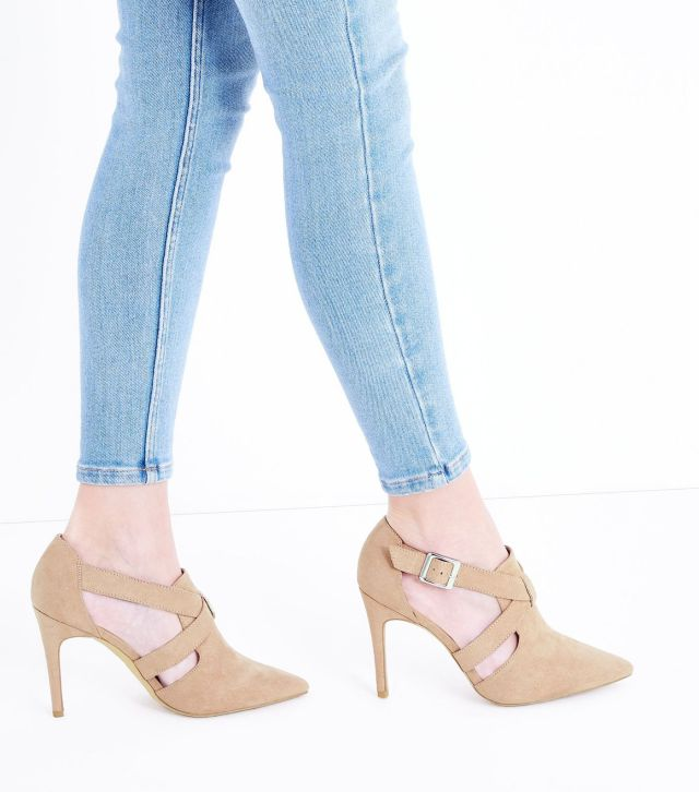 Wide Fit Nude Suedette Pointed Cut Out Shoe Boots £25.99