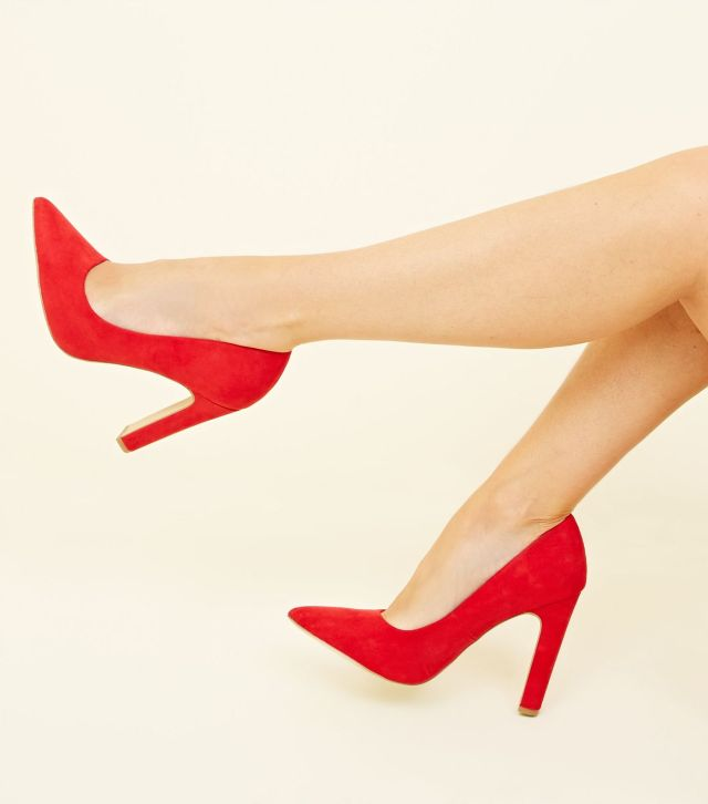 Wide Fit Red Suedette Block Heel Pointed Courts £19.99