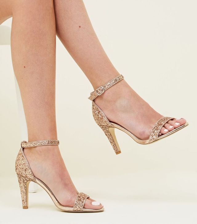 Wide Fit Rose Gold Glitter Ankle Strap Heels £22.99