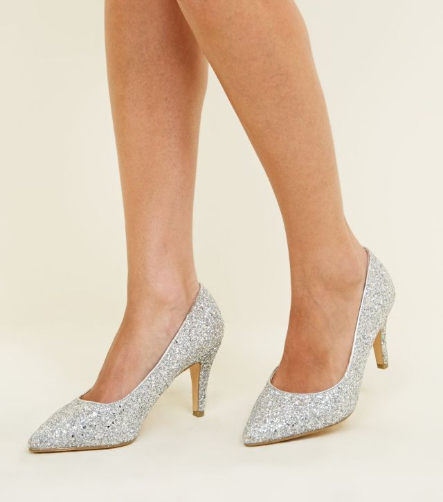 Wide Fit Silver Glitter Pointed Wedding Courts £19.99