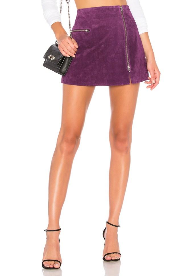 Asymmetrical Zip Suede Skirt