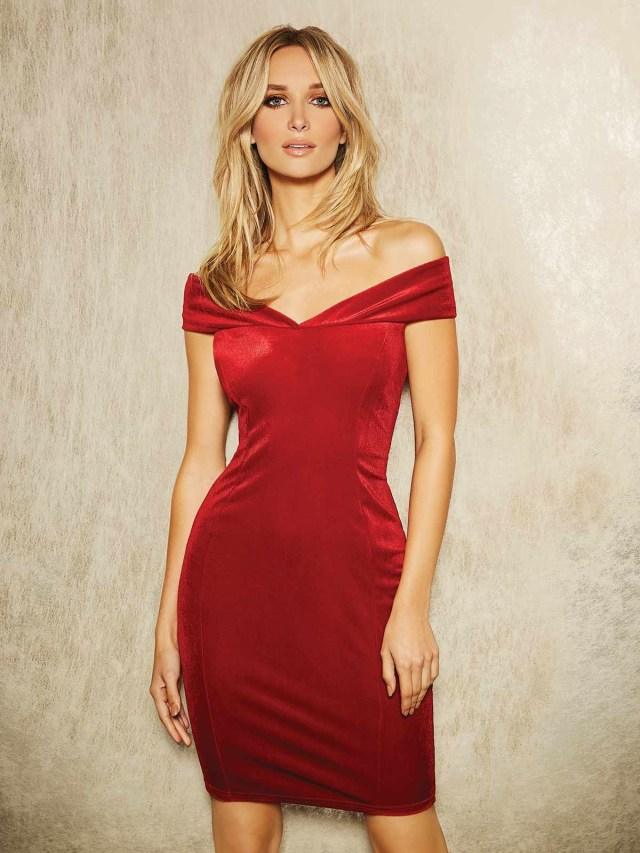 ENVY Red Velvet Bardot Dress