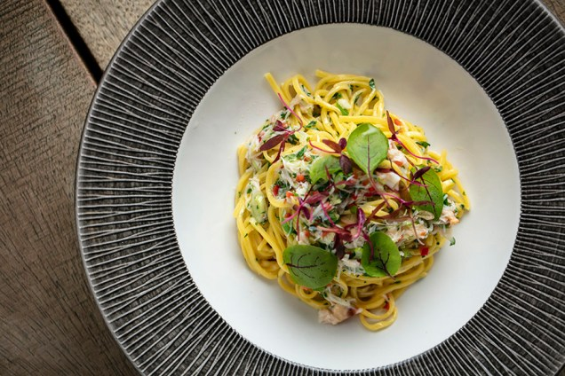 Cornish crab tagliolini pasta, red chilli, garlic lime