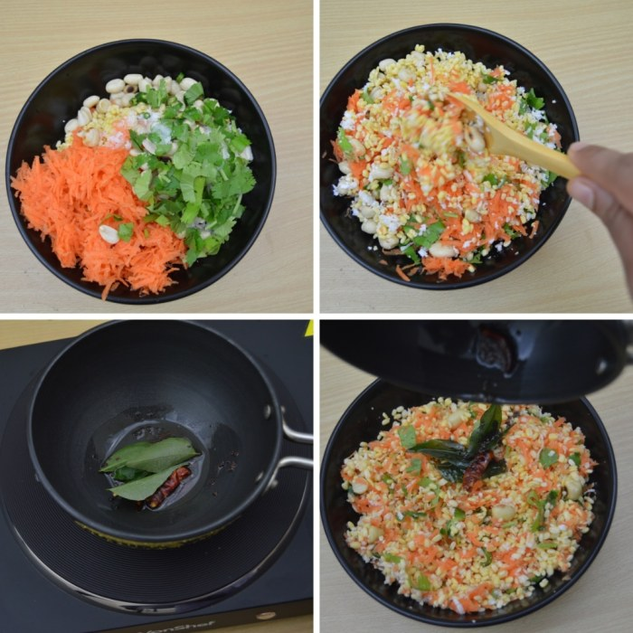 mixing carrot coriander and peanuts in a blackbowl