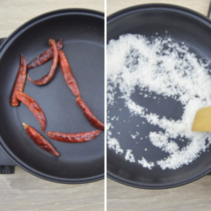 dry red chillies and coconut in a black pan