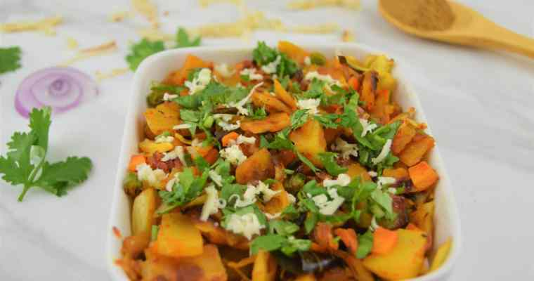 Vegetable Kothu Parotta (Stir fried shredded flatbread)