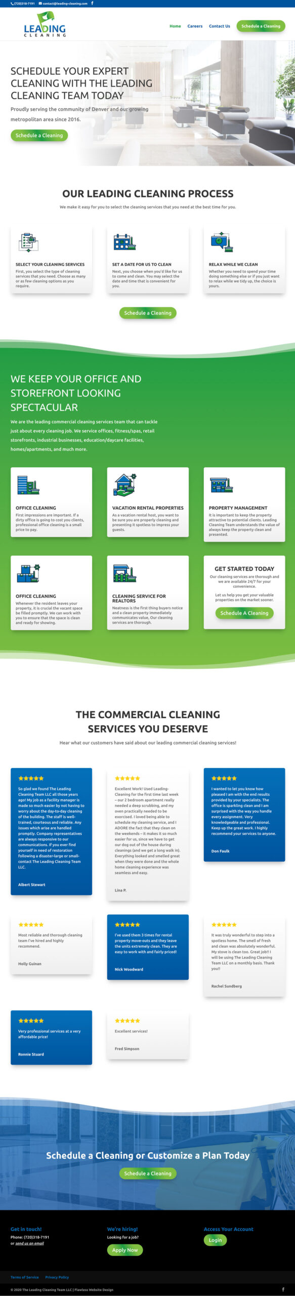 The Leading Cleaning Team website design