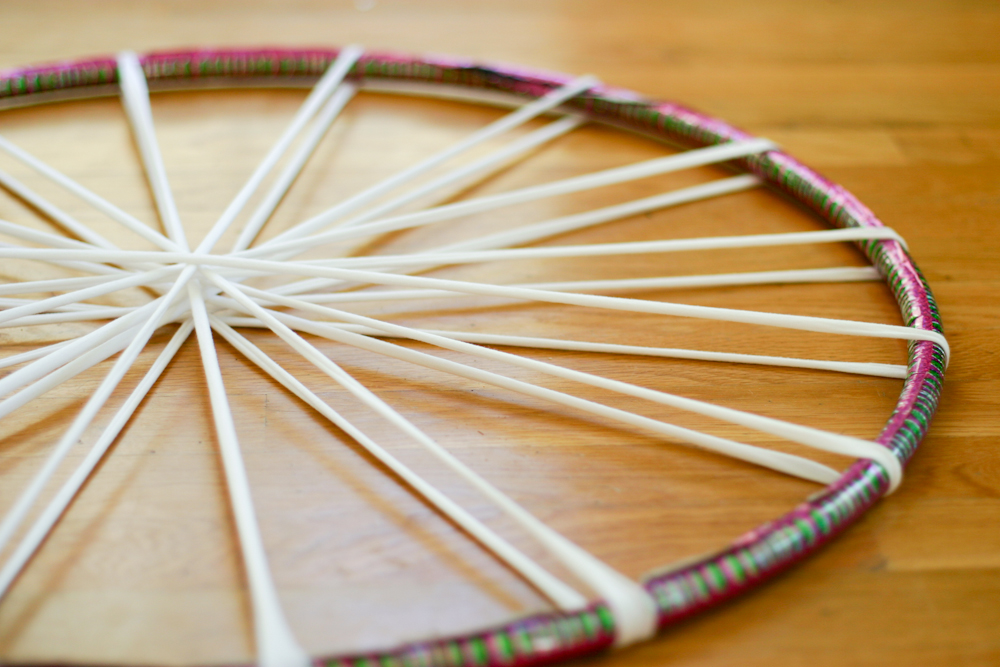 Great After Adding The 10 Strips Stretched Across The Hula Hoop Into 20 Spokes,  Youu0027re Ready To Start.