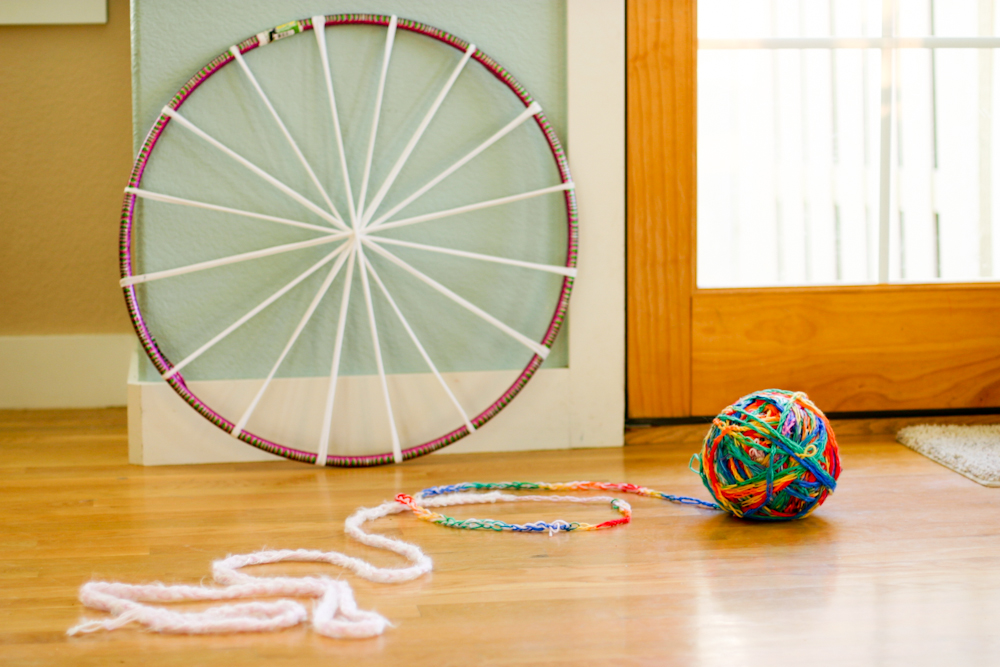 The Rug Was Made On A Hula Hoop Loom, Using An Old T Shirt For The Warp And  A Massively Huge Ball Of Finger Knitting For The Weft.