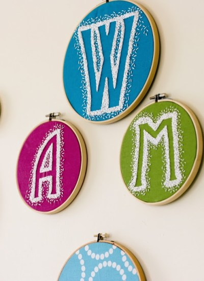 Reverse Embroidery Hoop Monogram DIY–a finish fifty project