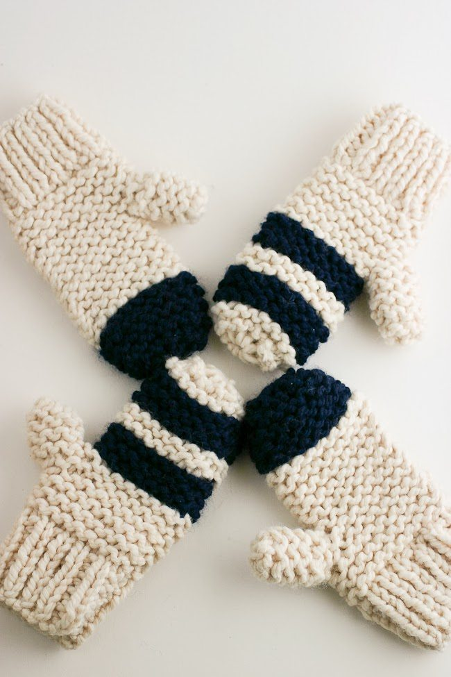 Garter Stitch Chunky Mittens Striped Or Color Block A Quick Cozy