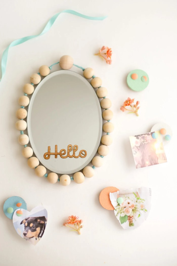 beaded mirror cork board and pushpin-2648