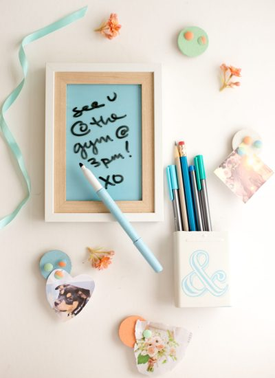 DIY Locker Decorations: Dry Erase Board + Pencil Cup