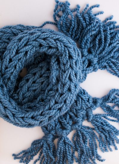 Arm Knit Scarf with Tassels