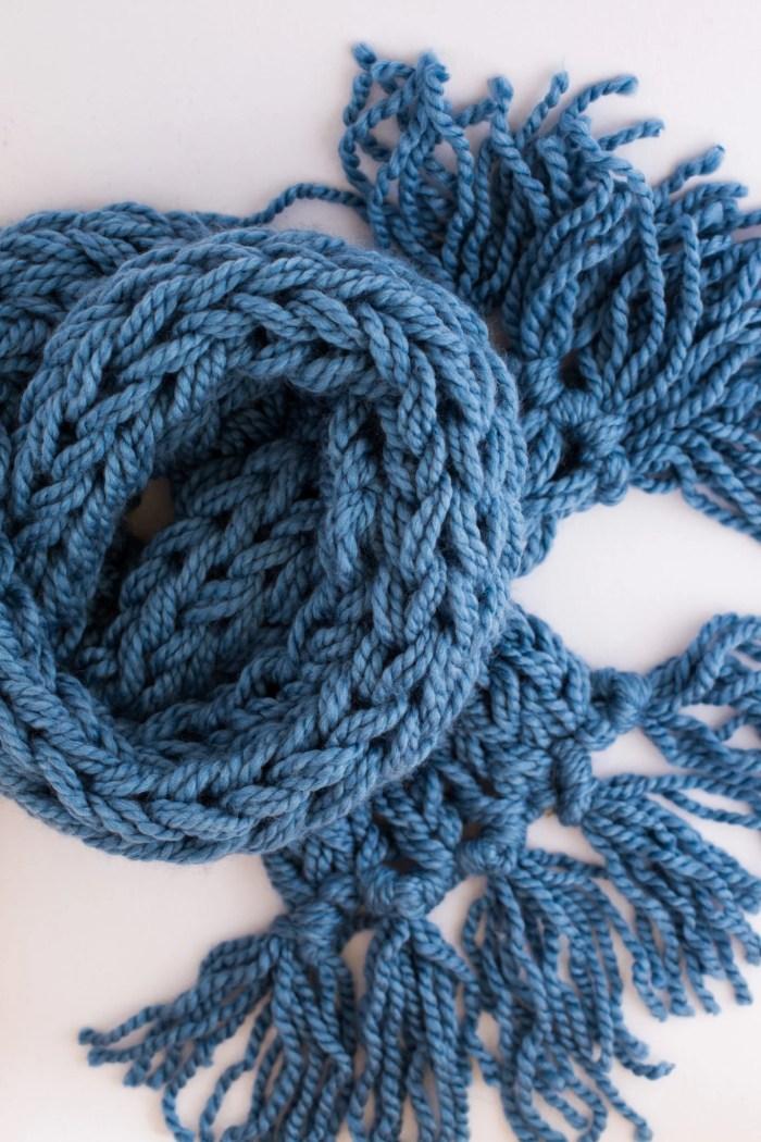 arm knit tassel scarf-4927