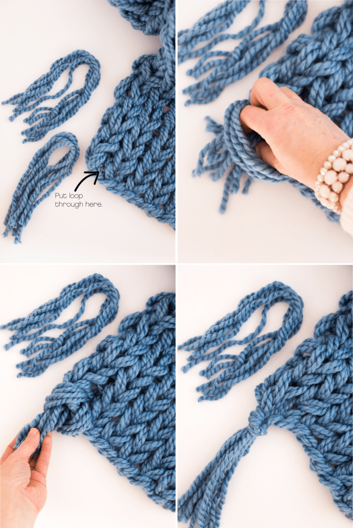 Arm Knitting Tutorial Pdf : Arm knit scarf with tassels flax twine