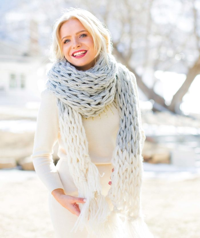 Color Block Scarf   Arm Knitting Patterns from Knitting Without Needles by Anne Weil