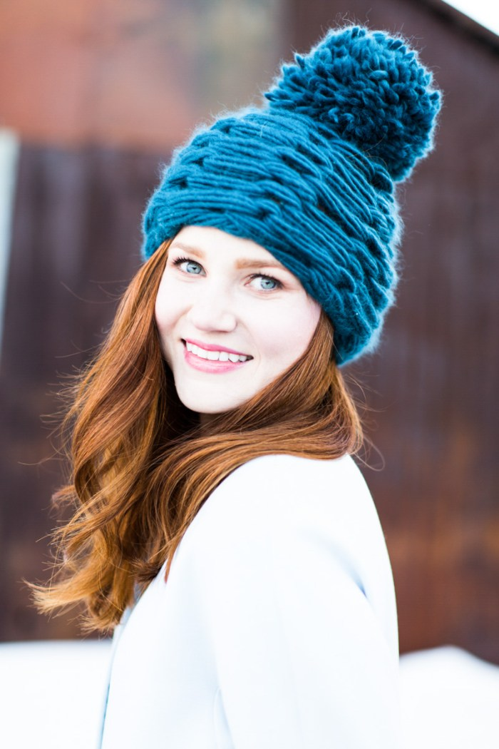 arm knit pom pom hat-3865