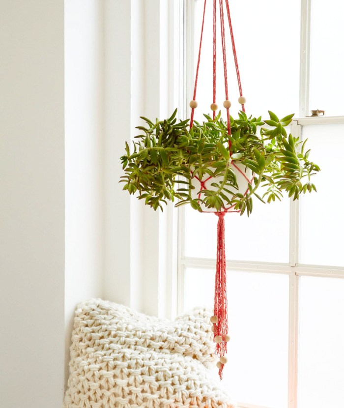easy finger knit plant holder-