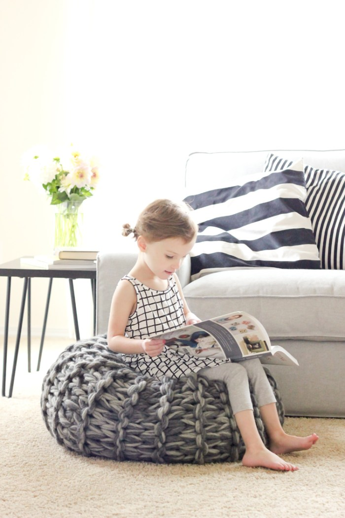 Arm Knit Pouf Pattern from Knitting Without Needles by Anne Weil
