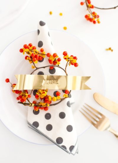 DIY Gold Ribbon Stamped Place Cards