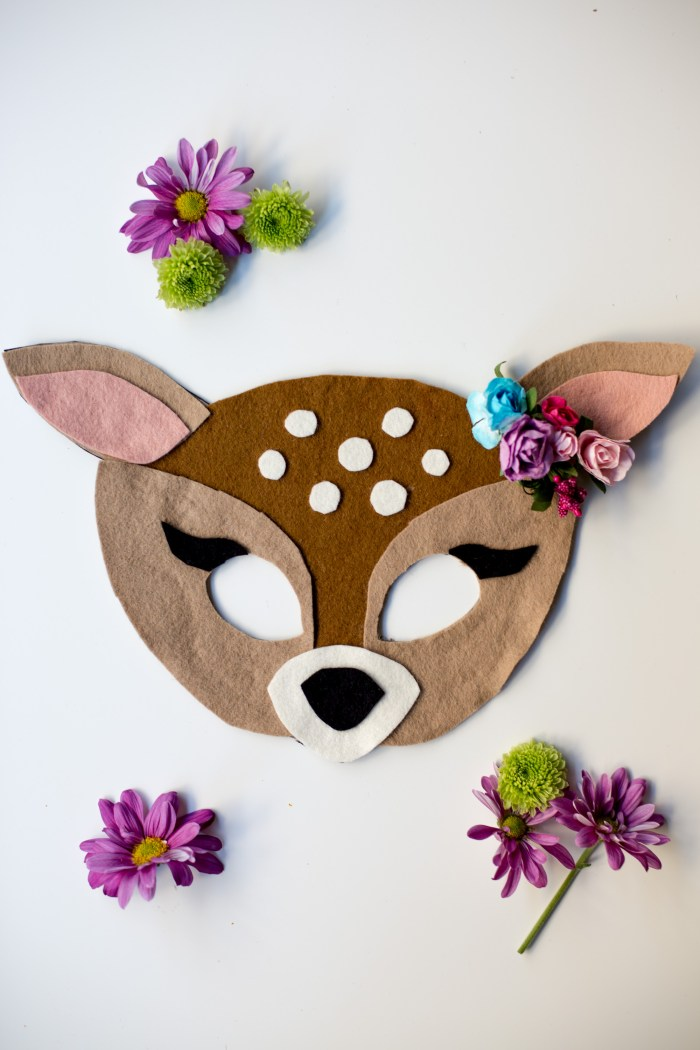 Free Felt Animal Mask Patterns by Anne Weil of Flax & Twine - Doe or Fawn Mask