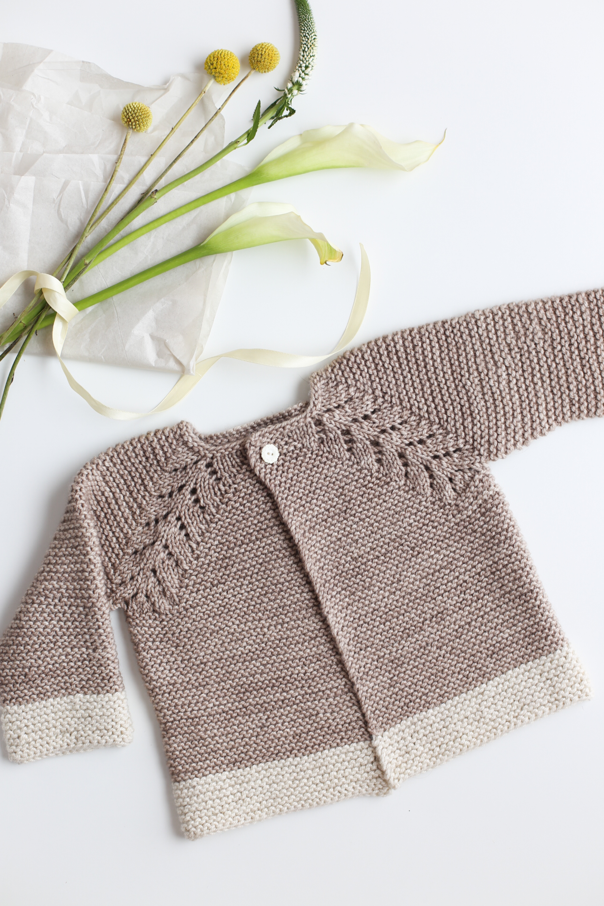 Lovely Knit Top Down Cardigan Baby Sweater - Flax & Twine