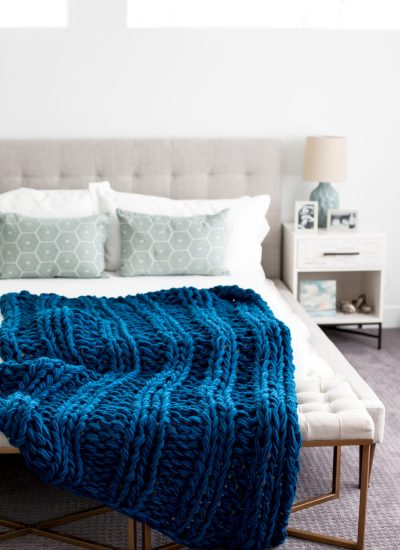 Free Chunky Arm Knit Ribbed Blanket Pattern
