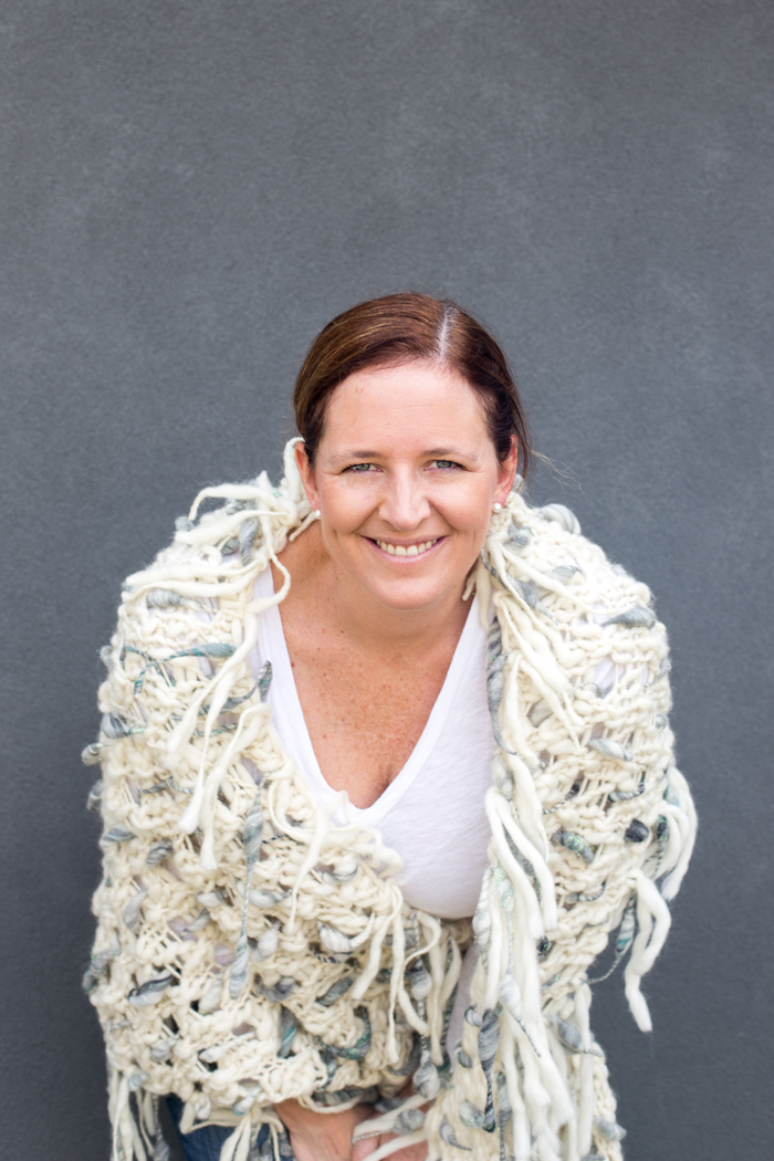 Anne Weil of Flax & Twine in Dash Shawl by Knit Collage