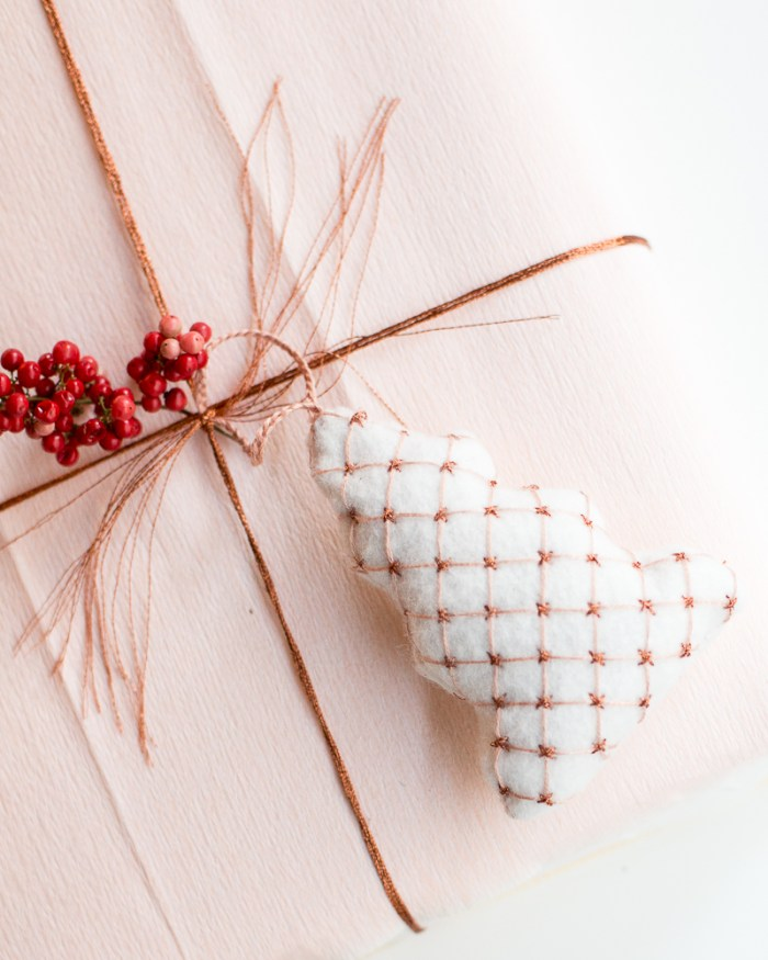 Embroidered Christmas Tree Ornament by Anne Weil of Flax & Twine